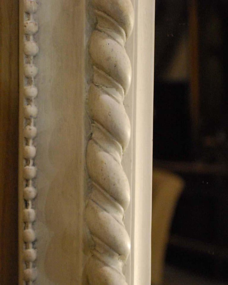 19th Century French Louis Philippe Mirror in Antique White For Sale 6