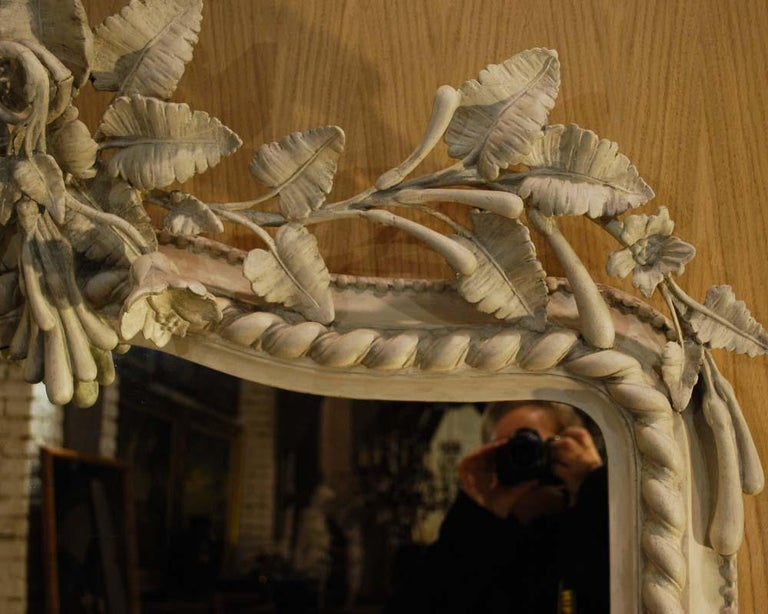 19th Century French Louis Philippe Mirror in Antique White For Sale 1