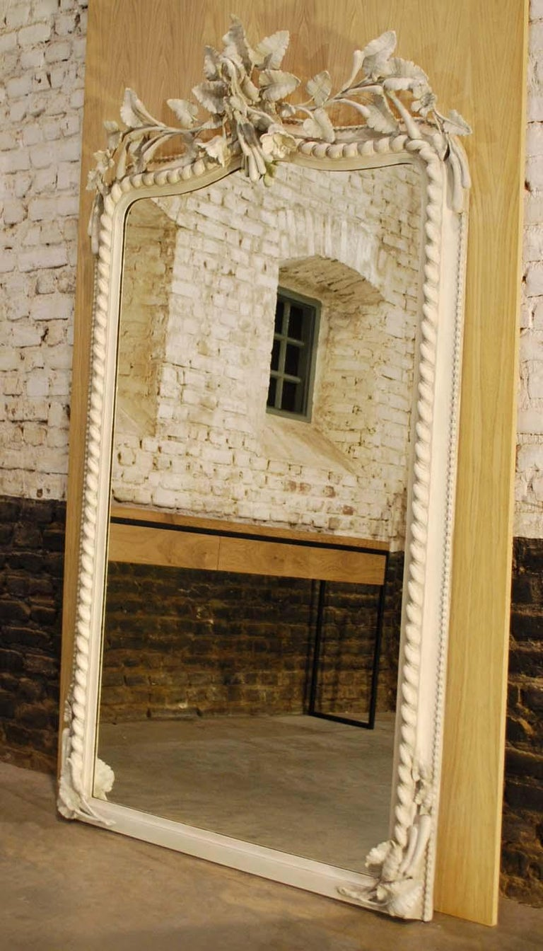 19th Century French Louis Philippe Mirror in Antique White For Sale 4