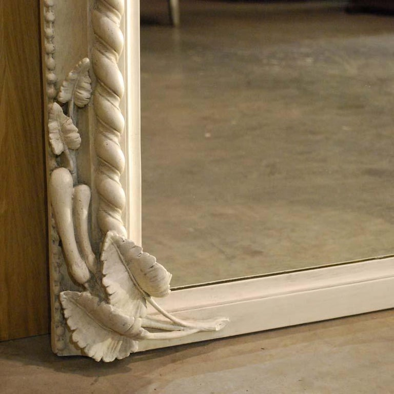 19th Century French Louis Philippe Mirror in Antique White For Sale 5