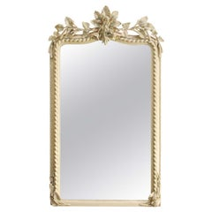 19th Century French Louis Philippe Mirror in Antique White