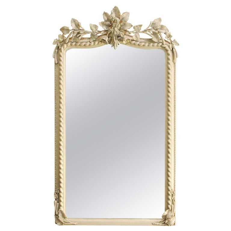 19th Century French Louis Philippe Mirror in Antique White For Sale