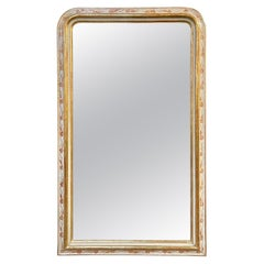 19th Century French Louis Philippe Mirror with Rare Gesso and Floral Pattern