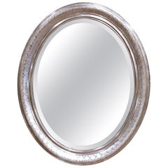 19th Century French Louis Philippe Oval Silver Leaf Mirror with Engraved X-Decor