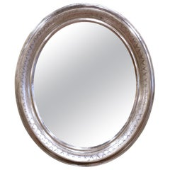 19th Century French Louis Philippe Oval Silver Leaf Mirror with Geometric Motifs