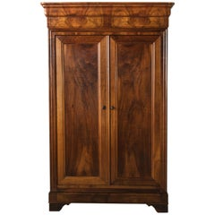19th Century French Louis Philippe Period Bookmatched Walnut Armoire