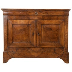 19th Century French Louis Philippe Period Burl Walnut Buffet or Sideboard
