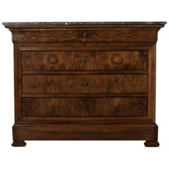 19th Century French Louis Philippe Period Burl Walnut Commode or Chest, Marble