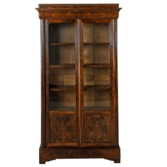 19th Century French Louis Philippe Period Flamed Mahogany Bookcase or Vitrine