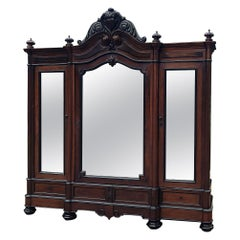 19th Century French Louis Philippe Period Rosewood Triple Armoire