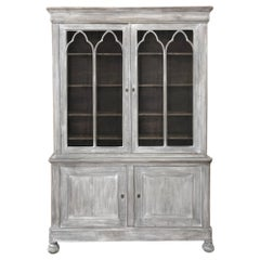 19th Century French Louis Philippe Period Whitewashed Bookcase