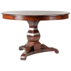 19th Century French Louis Philippe Round Dining Room Table Mahogany Veneered