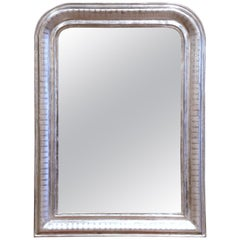 19th Century French Louis Philippe Silver Leaf Mirror with Engraved Stripe Decor