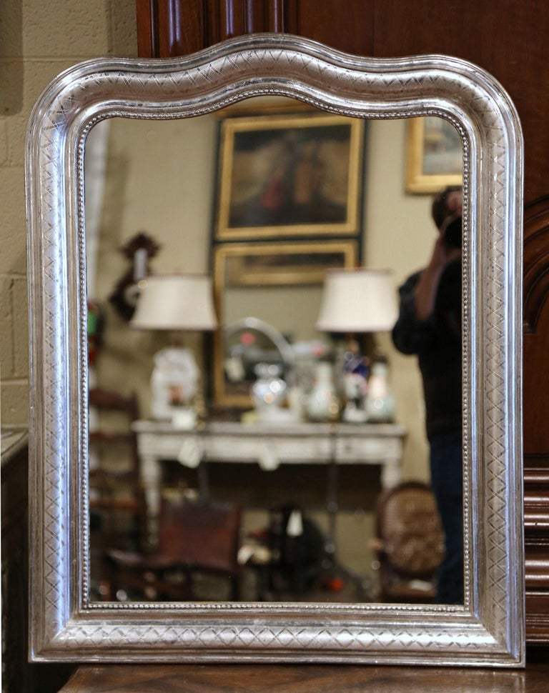 Silvered 19th Century French Louis Philippe Silver Leaf Mirror with Geometric Motifs