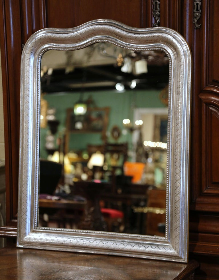 19th Century French Louis Philippe Silver Leaf Mirror with Geometric Motifs In Excellent Condition In Dallas, TX