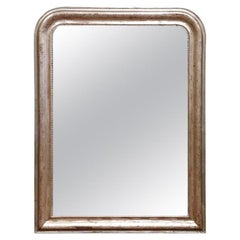 19th Century French Louis Philippe Silver Leaf Mirror with Greek Key Decor