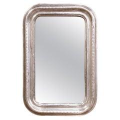 19. Jahrhundert Französisch Louis Philippe Silber Spiegel mit graviertem geometrischen Dekor