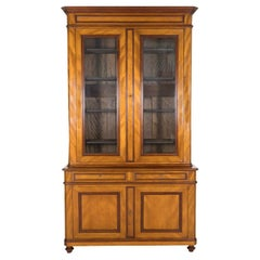 19th Century French Louis Philippe Style Flame Mahogany Bibliotheque or Bookcase
