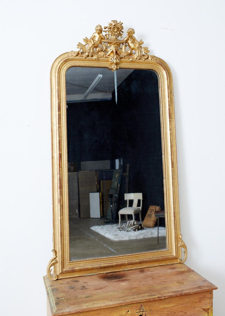 Italian 19th Century French Louis Philippe Style Giltwood Mirror For Sale