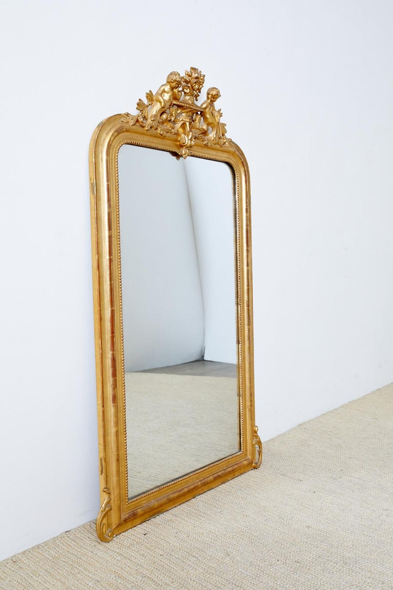 19th Century French Louis Philippe Style Giltwood Mirror In Good Condition For Sale In Oakland, CA