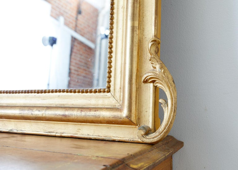 Gesso 19th Century French Louis Philippe Style Giltwood Mirror For Sale