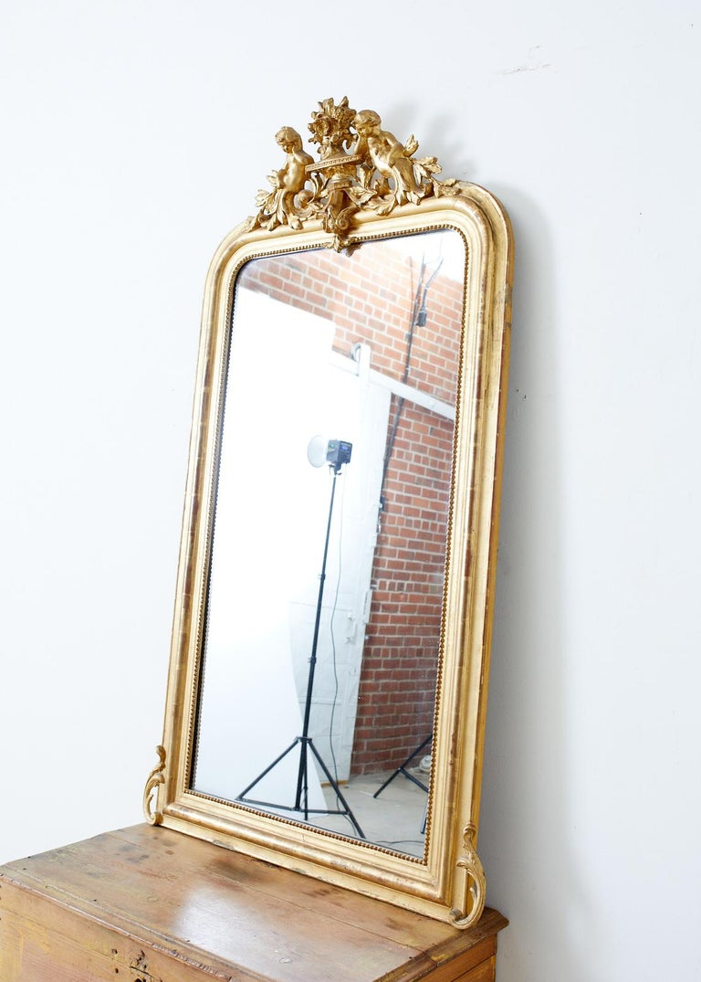 19th Century French Louis Philippe Style Giltwood Mirror For Sale 1