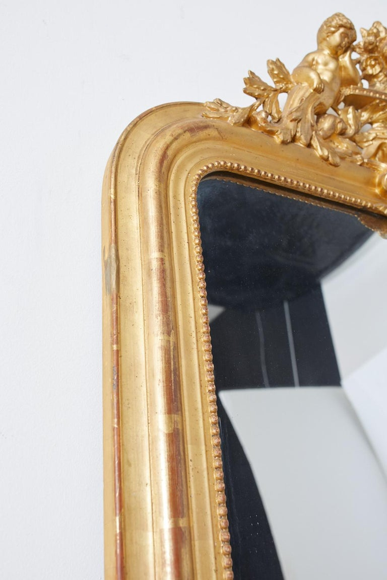 19th Century French Louis Philippe Style Giltwood Mirror For Sale 3