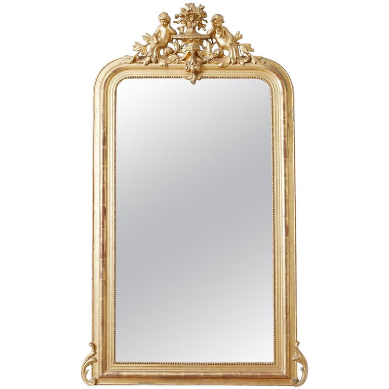 19th Century French Louis Philippe Style Giltwood Mirror For Sale