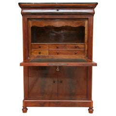 19th Century French Louis Philippe Style Mahogany Secretary with Marble Top