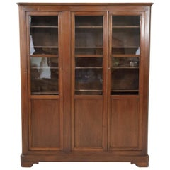 19th Century French Louis Philippe Style Walnut Bibliotheque or Bookcase