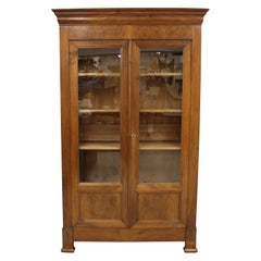19th Century French Louis Philippe Style Walnut Library Armoire or Linen Press