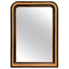 19th Century French Louis Philippe Two-Tone Gilt and Black Lacquered Mirror