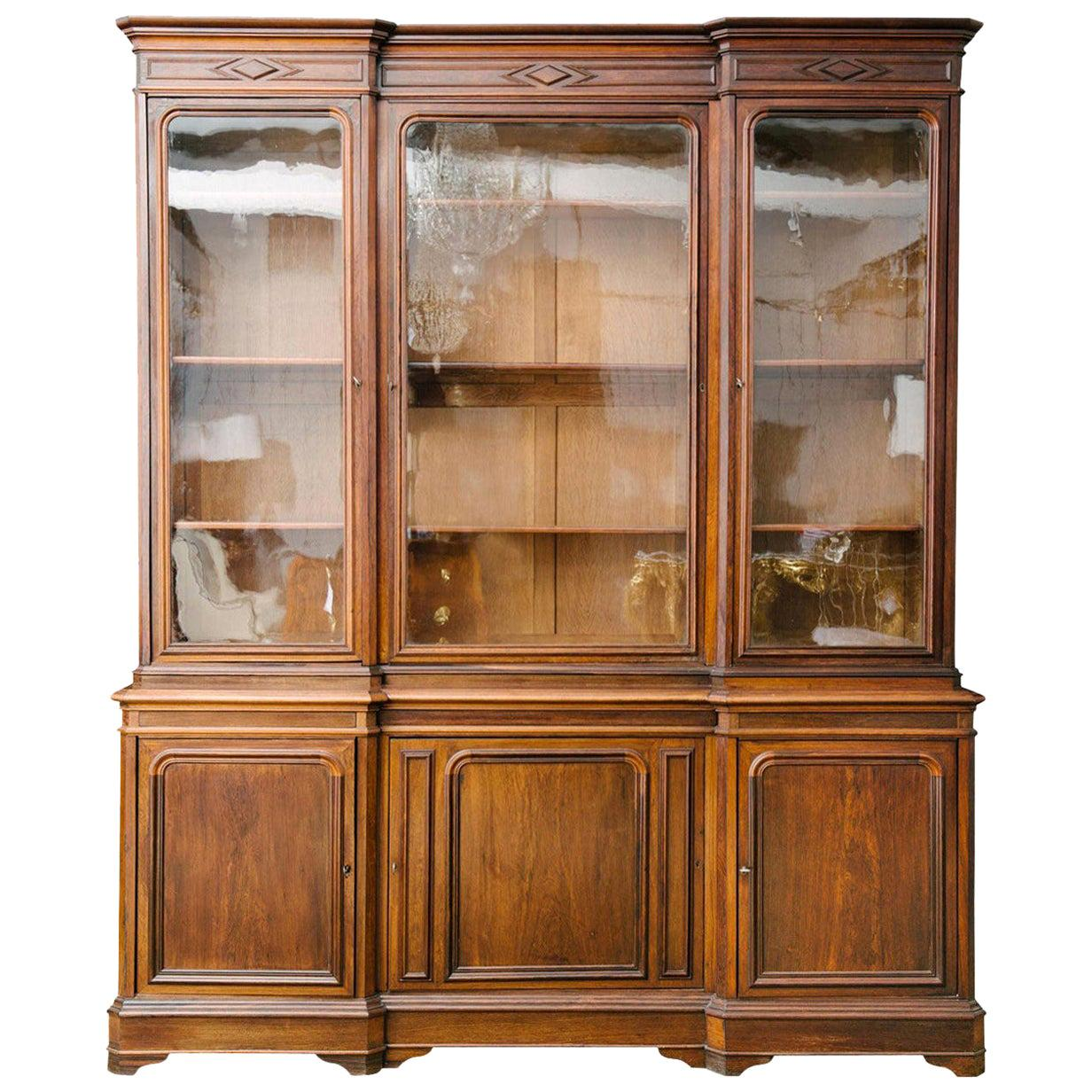 19th Century French Louis Philippe Walnut Bibliotheque