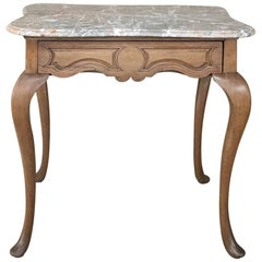 19th Century French Louis Philippe Walnut Marble Top Writing Table