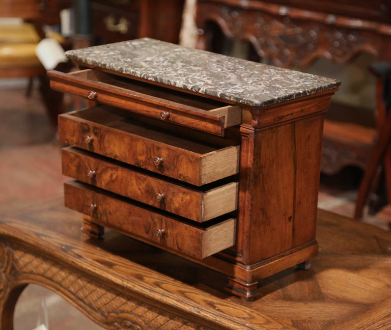 19th Century, French Louis Philippe Walnut Miniature Commode with Marble Top For Sale 2