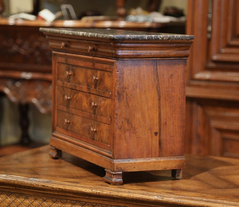 19th Century, French Louis Philippe Walnut Miniature Commode with Marble Top For Sale 4