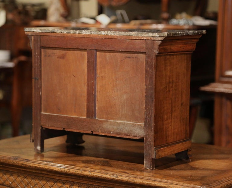 19th Century, French Louis Philippe Walnut Miniature Commode with Marble Top For Sale 5