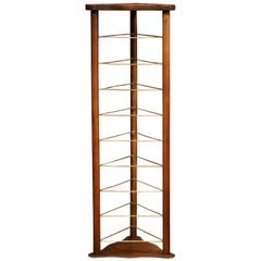 19th Century French Louis Philippe Walnut Plate Rack with Brass Holders