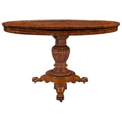 19th Century French Louis Phillippe St. Burl Walnut Center Table