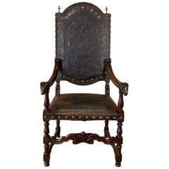19th Century French Louis XIII Armchair with Embossed Leather