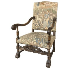 19th Century French Louis XIII Armchair with Tapestry