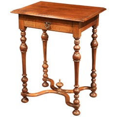 19th Century French Louis XIII Carved Cherry Side Table with Drawer & Stretcher