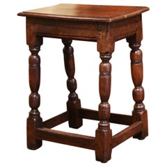 19th Century French Louis XIII Carved Chestnut Country Stool from Normandy