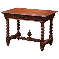 19th Century French Louis XIII Carved Oak Barley Twist Table Desk
