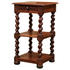 19th Century French Louis XIII Carved Oak Barley Twist Three-Tier Side Table