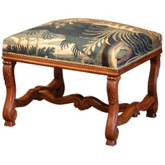19th Century French Louis XIII Carved Walnut and Aubusson Tapestry Stool