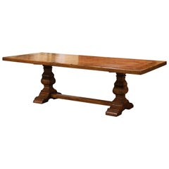 19th Century French Louis XIII Carved Walnut and Chestnut Trestle Dining Table