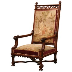 19th Century French Louis XIII Carved Walnut and Needlepoint Tapestry Armchair