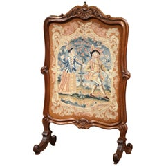 19th Century French Louis XIII Carved Walnut and Tapestry Fireplace Screen