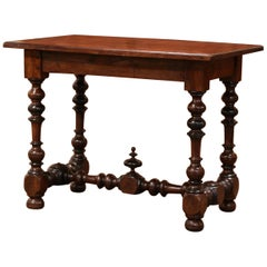 19th Century French Louis XIII Carved Walnut Turned Legs Table Desk